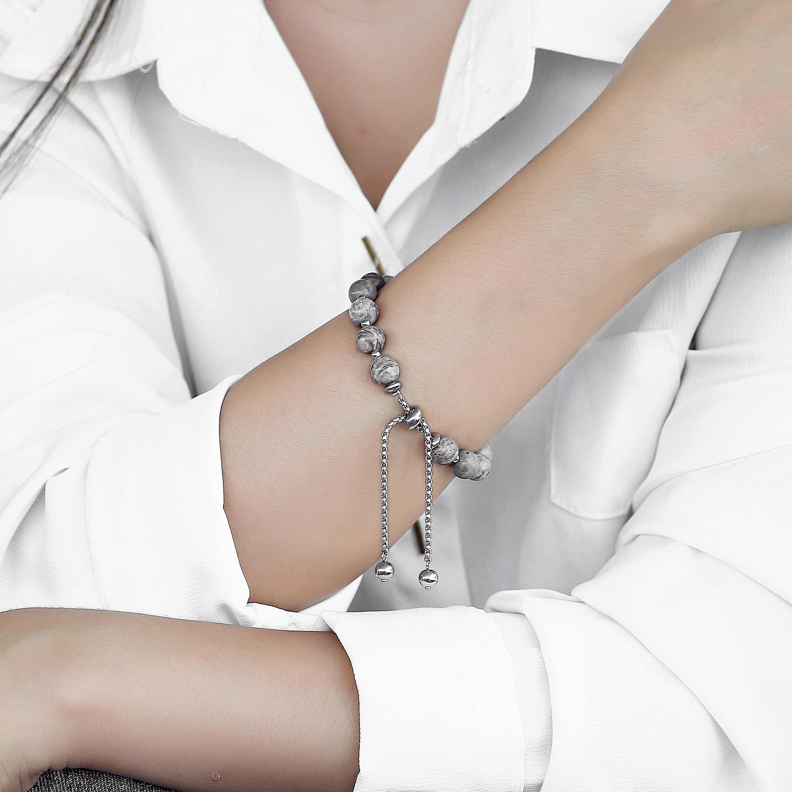 8 ミリメートル天然石ビーズブレスレット女性女の子のためタイガーアイマップ石ボックスチェーン調整可能な宝石類のギフトユニークなデザイン DBM70