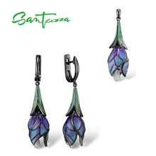 SANTUZZA Silver Jewelry Set for Women 925 Sterling Silver Purple Flower Earrings Pendant Set Trendy Fine Jewelry Handmade Enamel цена и фото