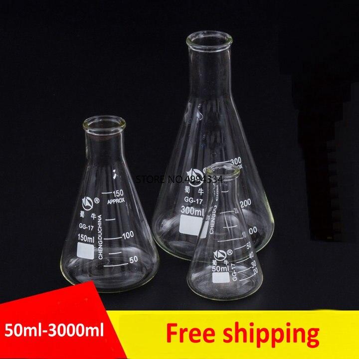 1 шт./лот, 50-2000 мл, цилиндрическая стеклянная фляга erlenmeyer, коническая фляга, треугольная фляга для лаборатории