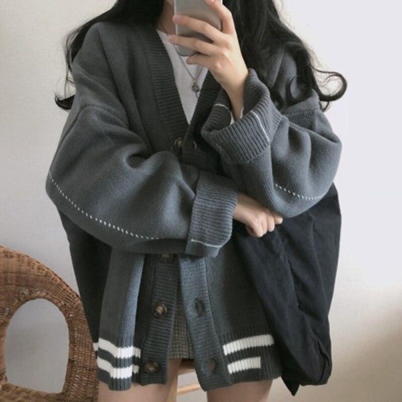 Women Knitted Sweater Vintage V-neck Autumn Winter Korean Kardigan Harajuku Solid Cardigan Knitwear