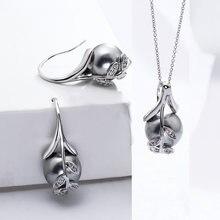 Ожерелье и серьги цвета розового золота 2 шт/компл родиевая
