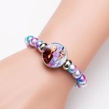 Disney elsa anna princes pulseira para decoração de festa arco-íris congelado crianças menina brinquedo crianças dos desenhos animados pulseira frisada corrente