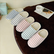 Women Winter Indoor Slippers Soft Striped Bottom Lovers Home Slippers Warm Plush Anti-slip Shoes Woman Men House Floor Slides(China)