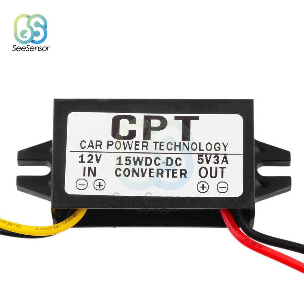Convertidor de CC a CC CC de autom/óvil de 12 V a 5 V 3A 15 W Regulador de convertidor reductor con USB de montaje en panel hembra con cuatro protecci/ón de seguridad inteligente para audio de autom/ó