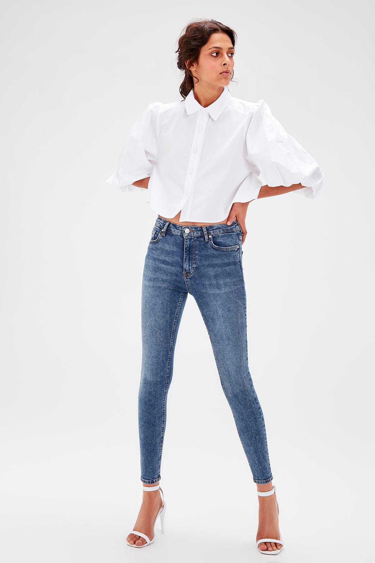 Trendyol Blue High Waist Skinny Jeans TWOAW20JE0069