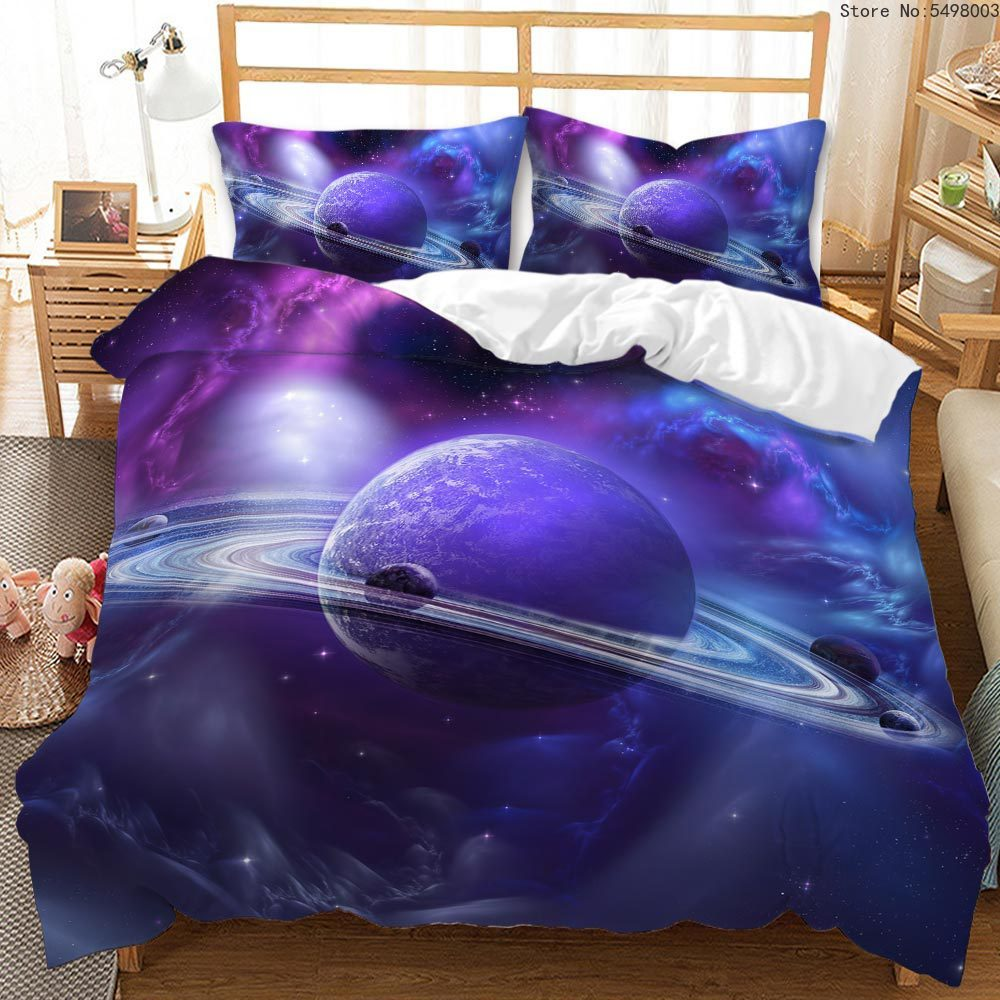 Space Planet Bedding Set Galaxy Duvet Cover Set Nordic Cartoon Quilt Cover Child Kids Double Bed Sets Queen Size Home Bedding