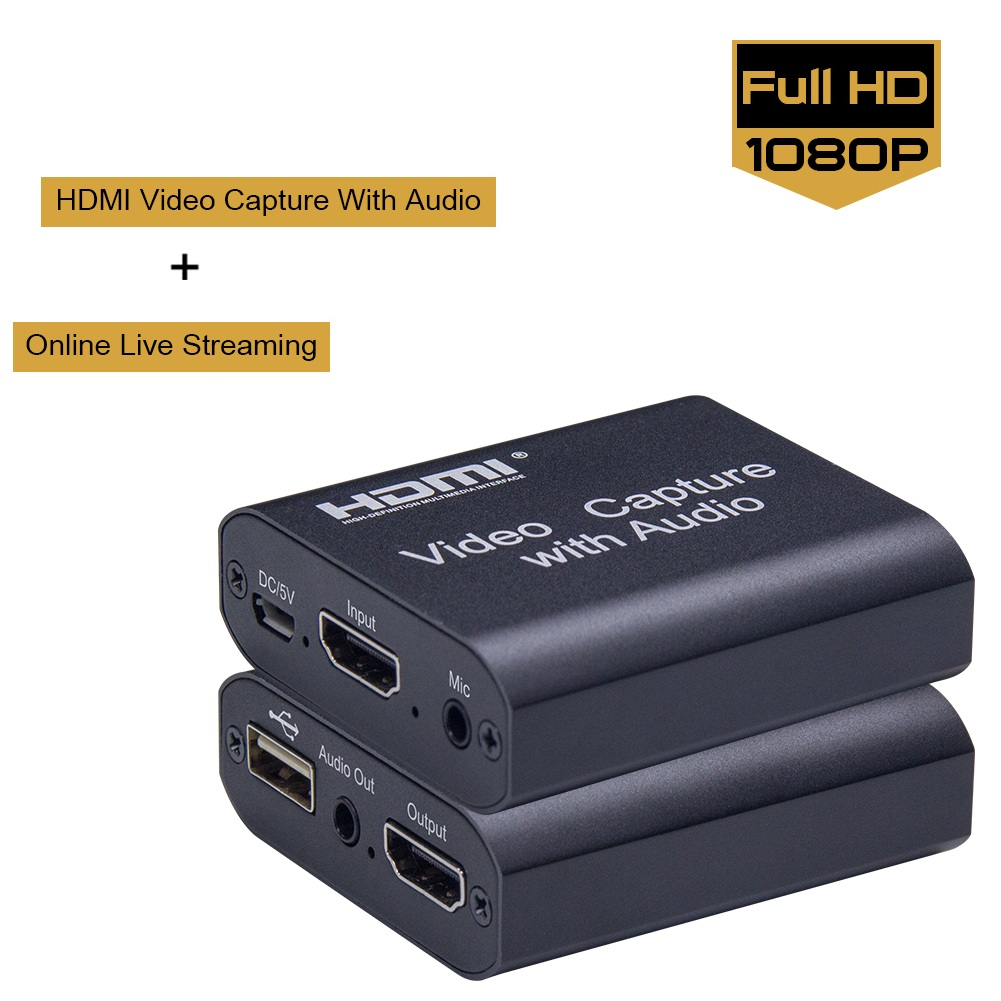 HDMI Video Capture Device 1080P With Loop-out Audio+Video Capture Disk Game Capture Card For Windows, Android,mac OS Fast Ship