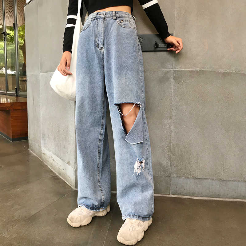 Woman Jeans High Waist Ripped Jeans big size 2020 Clothes Wide Leg Denim hole Blue Streetwear Fashion Vintage loose Pants KZ169