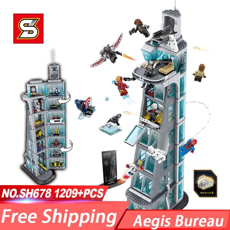 NEW SH678 1209pcs Marvel Super heros Upgraded Version Super Hero Attack On Tower
