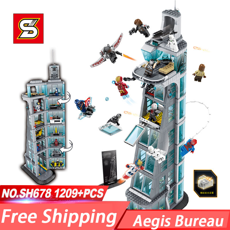 SH678 Avenger Super Hero Attack On Avengers Tower Aegis Bureau Building Block Toys Compatible With 76038 Super Heroes