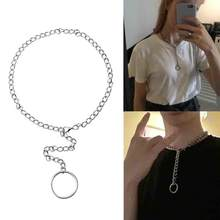 Punk Men Women Circle Pendant Chain Choker Necklace Party Club Jewelry Gift(China)