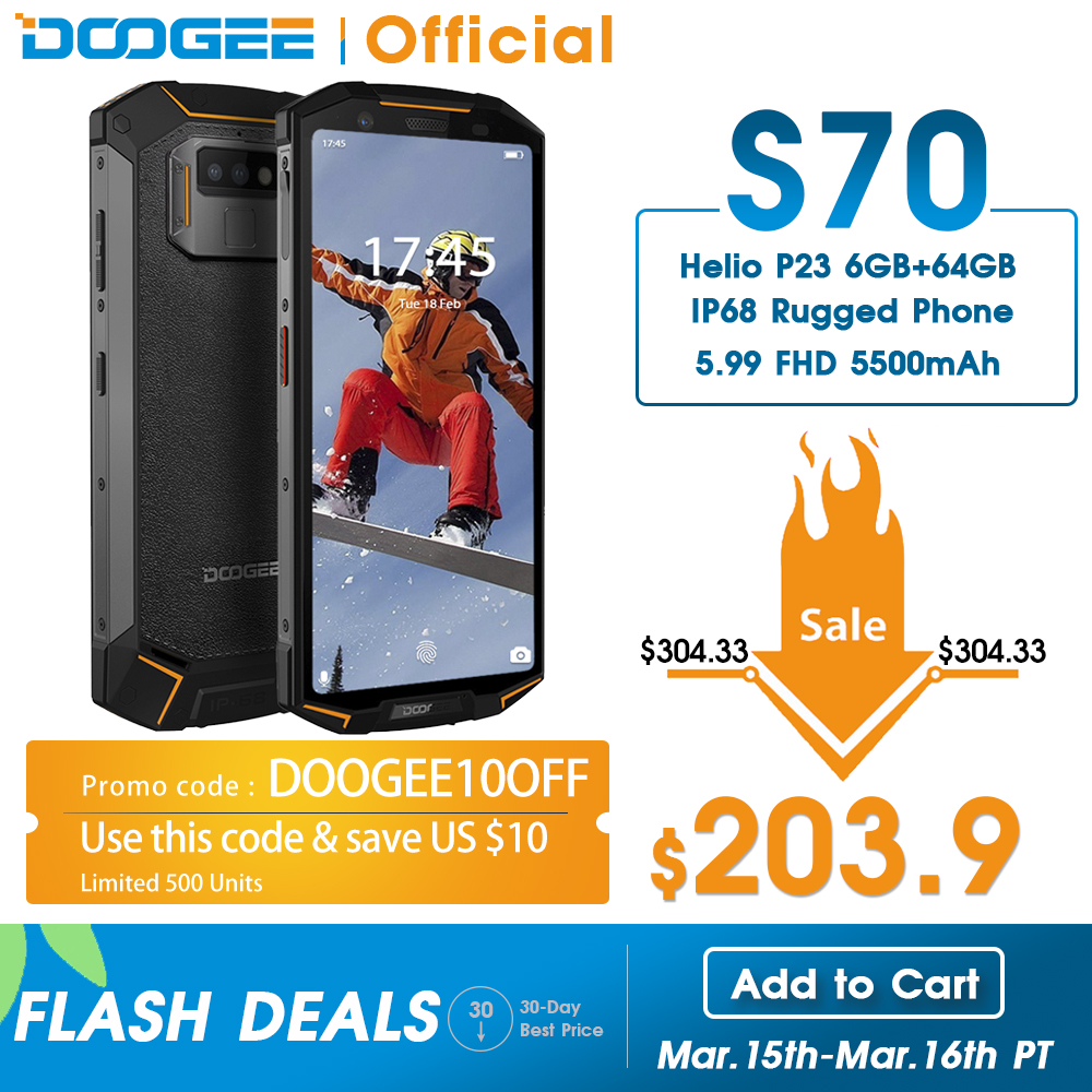 DOOGEE S70 Game Phone IP68/IP69K Waterproof Wireless Charge NFC 5500mAh 12V2A Quick Charge 5.99 FHD Helio P23 Octa Core 6GB 64GB|Cellphones| |  - title=