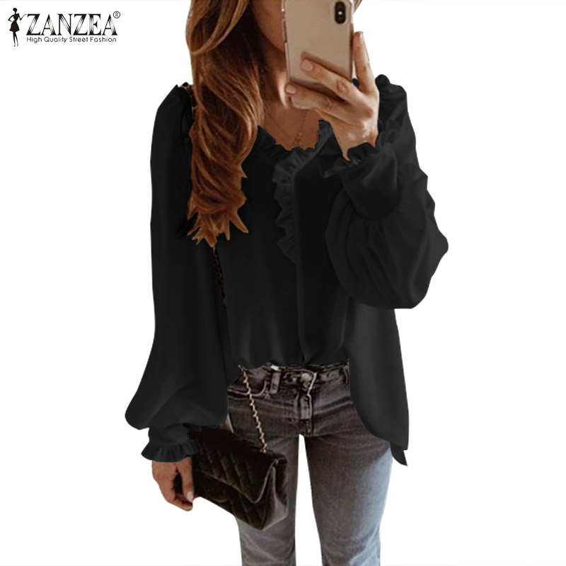 ZANZEA 2020 Summer Women Blouses Shirts Ladies Ruffles Tops Blusas Vintage Solid Long Sleeve Tunic Work Chic Chemise Plus Size 7
