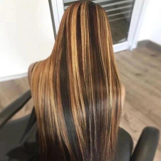 Marrón 13x6 peluca con malla frontal recto rubio miel Remy brasileño destacar Ombre frente de encaje pelucas de cabello humano para las mujeres lejía nudos