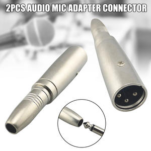 2 Pcs 6.5mm Female to 6.35mm Male Jack Audio Mic Adapter Connector Accessories DJA99