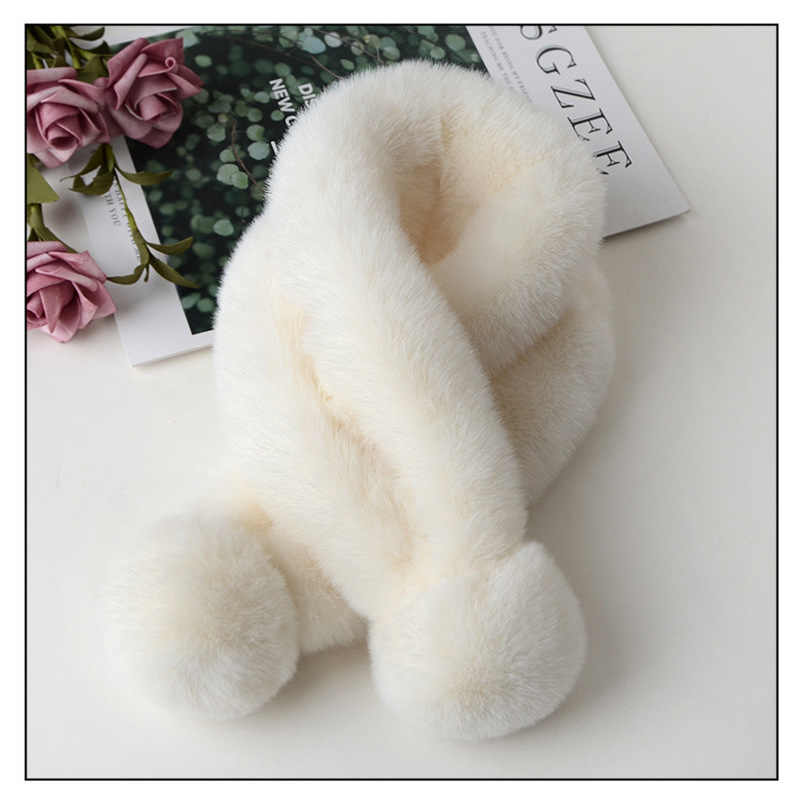 1PC di trasporto delle Donne Sciarpa Calda di Alta Imitazione della Pelliccia Del Coniglio Sciarpa di Inverno Delle Ragazze di Modo Doppio Palla di Lana Sciarpa Pompon Collo più calde Sciarpe
