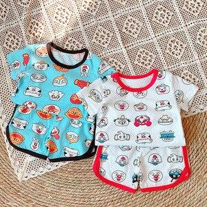 Летние Детские пижамные комплекты одежда для сна для мальчиков Одежда для маленьких девочек пижамы с рисунками из мультфильмов, комплект с ...