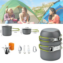1Set Camping Aluminum Alloy Cookware Stove Spoon Fork Non-Stick Cooking Outdoor Hiking Picnic Camping Pot Hiking Picnic Cookware outdoor picnic stainless steel hand bill of lading handle bento pot hiking pot camping barbecue cooking cookware picnic cookers