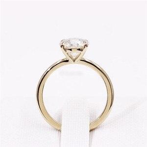 Image 4 - CxsJeremy 2.0Ct yuvarlak Solitaire Moissanite nişan Ring14K sarı altın Moissanite elmas düğün Band yıldönümü hediyesi