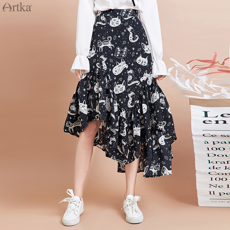 ARTKA 2019 Autumn New Women Skirt Fashion Cat Print Skirt Irregularly Design Chiffon Skirts Elegant Ruffled Skirt Women QA15297Q