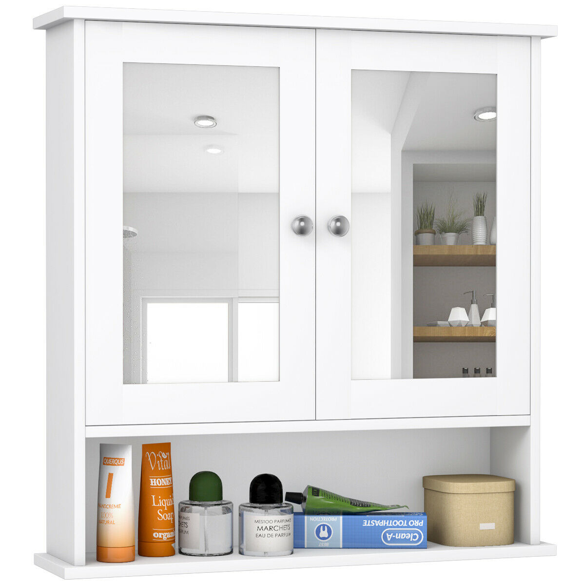 Costway New Bathroom Wall Cabinet Double Mirror Door Cupboard Storage Wood Shelf White