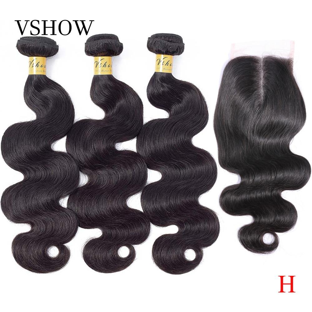 Brazilian Body Wave Hair 3 Bundles With Closure VSHOW Remy Hair Weaves Bundles Human Hair Bundles With Closure