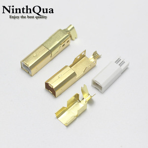 1/2/5 Sets Gold plated USB 2.0 B Type Male THREE-PIECE DIY USB Connector Soldering Printer Tail Charging USB Jack
