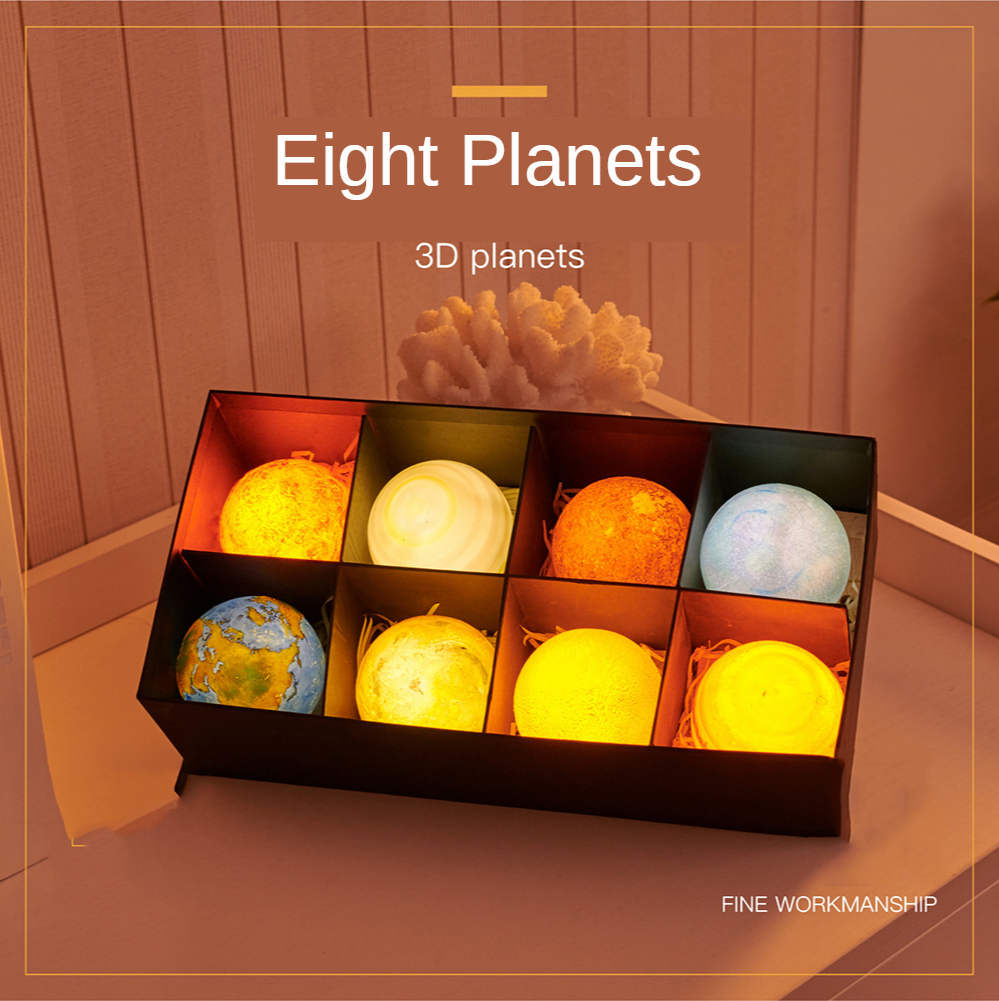 8pcs/set Eight planets 3D Print LED Lamp Moon Eart