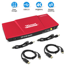 DisplayPort KVM Switches USB2.0 Ultra HD 2x1 with 2 Pcs 5ft Cables Control UP 2 Port Devices