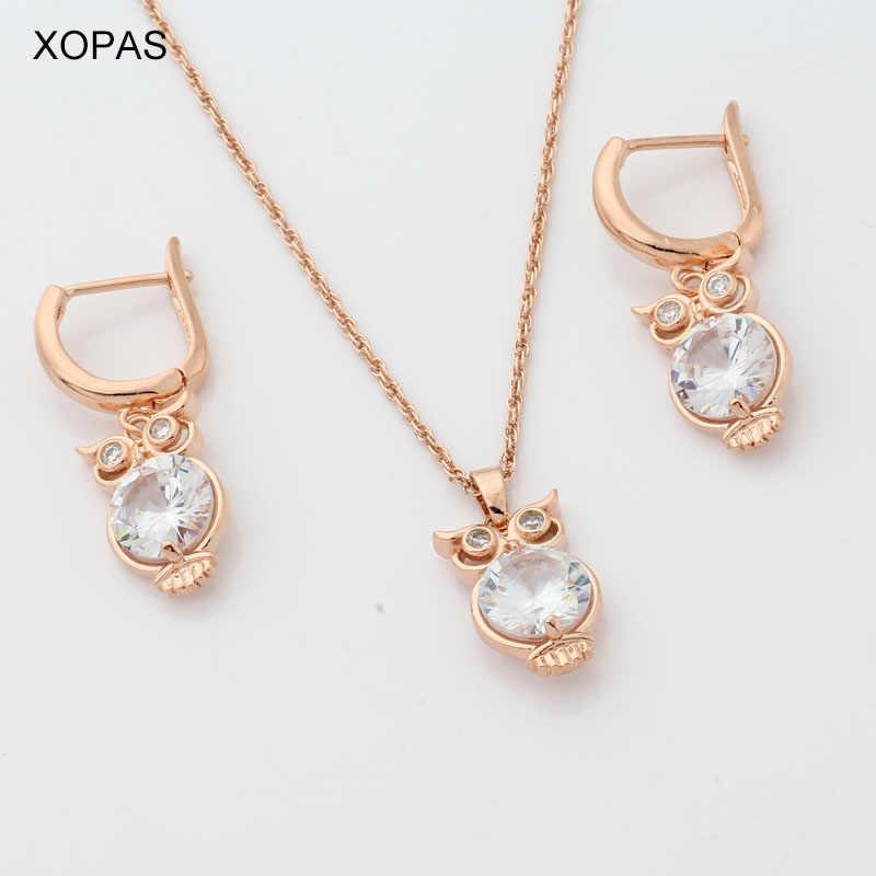 XOPAS Nette Eule Tropfen Ohrringe Halsketten & Anhänger Pflastern CZ Gold Farbe Schmuck Sets Für Frauen Kinder Kinder Mädchen Schmuck geschenke
