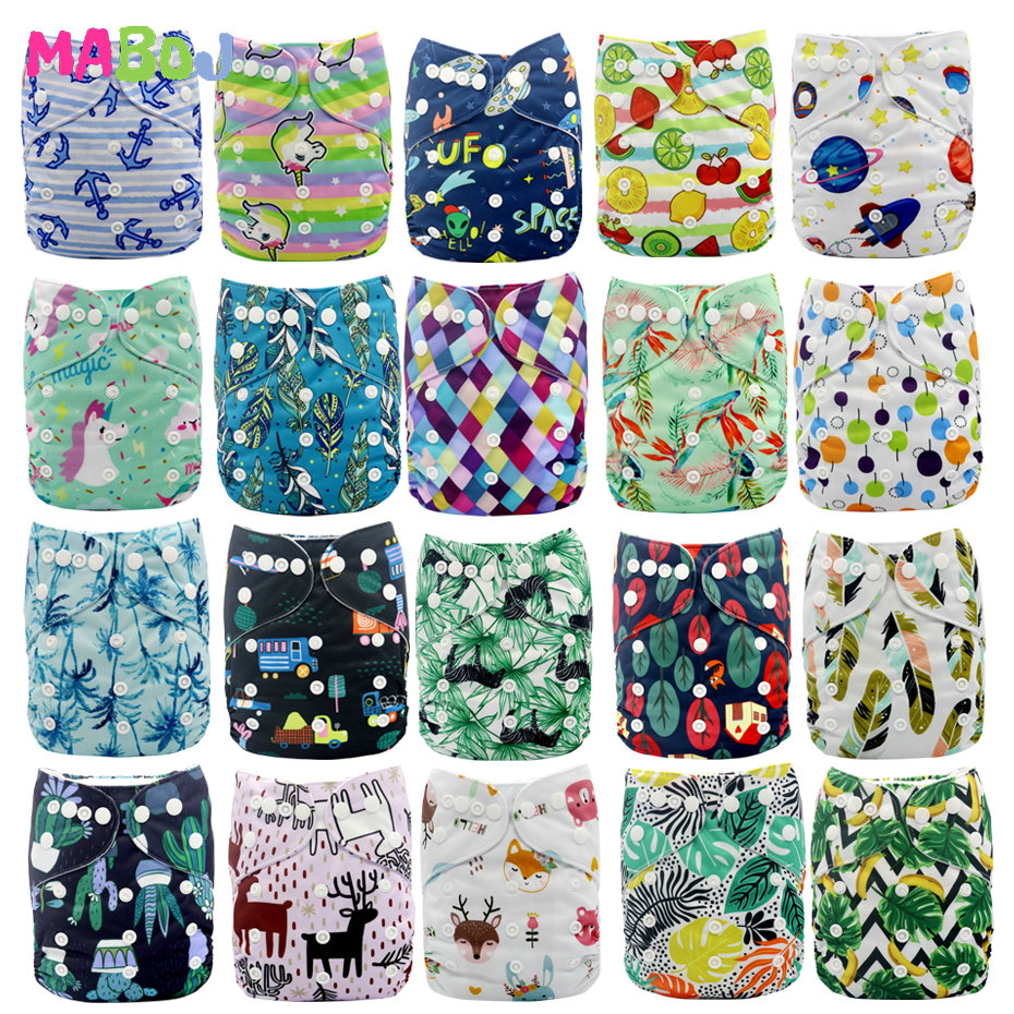 MABOJ Cloth Diapers Reusable Baby Cloth Pocket Diaper Cover Washable Nappies Carton Green ECO Nappy Waterproof All In One Nappy