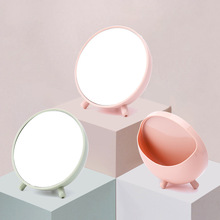 Vanity-Mirror Desk-Top-Storage Dressing-Glass Circular Creative Portable Top-Of-A-Table-Glass