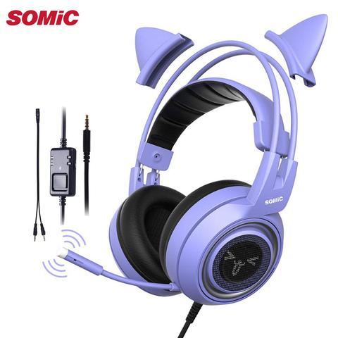 Redução de Ruído Fone de Ouvido Headset com Microfone para Ps4 Somic Roxo Estéreo Gaming Xbox um Telefone pc Destacável Gato Orelha 3.5mm G951s
