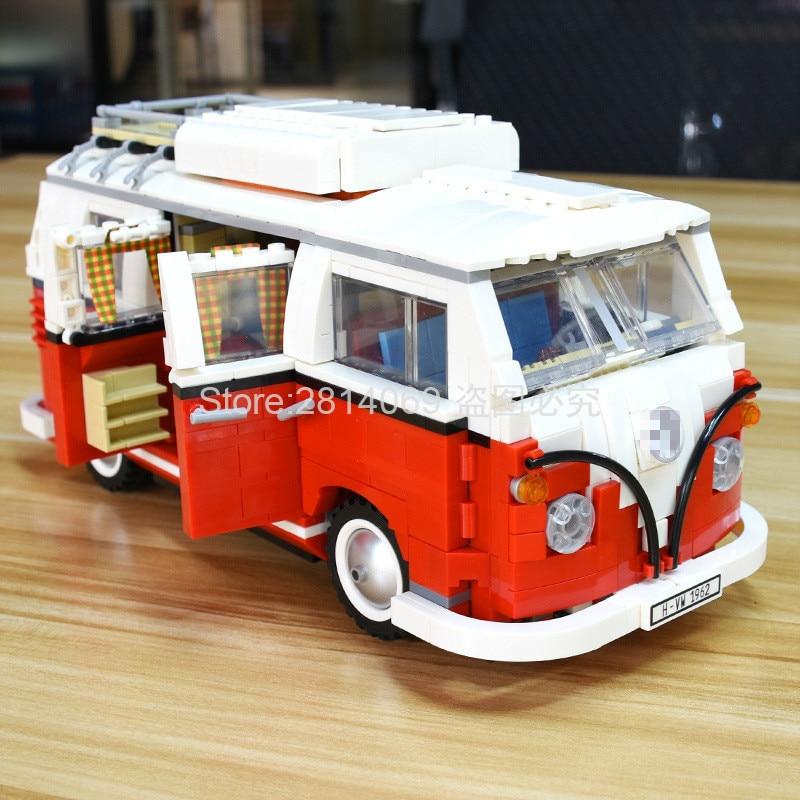 En stock 21001 T1 camping-car classique Bus modèle 1342 pièces créateur série blocs de construction jouets compatibles avec 10220
