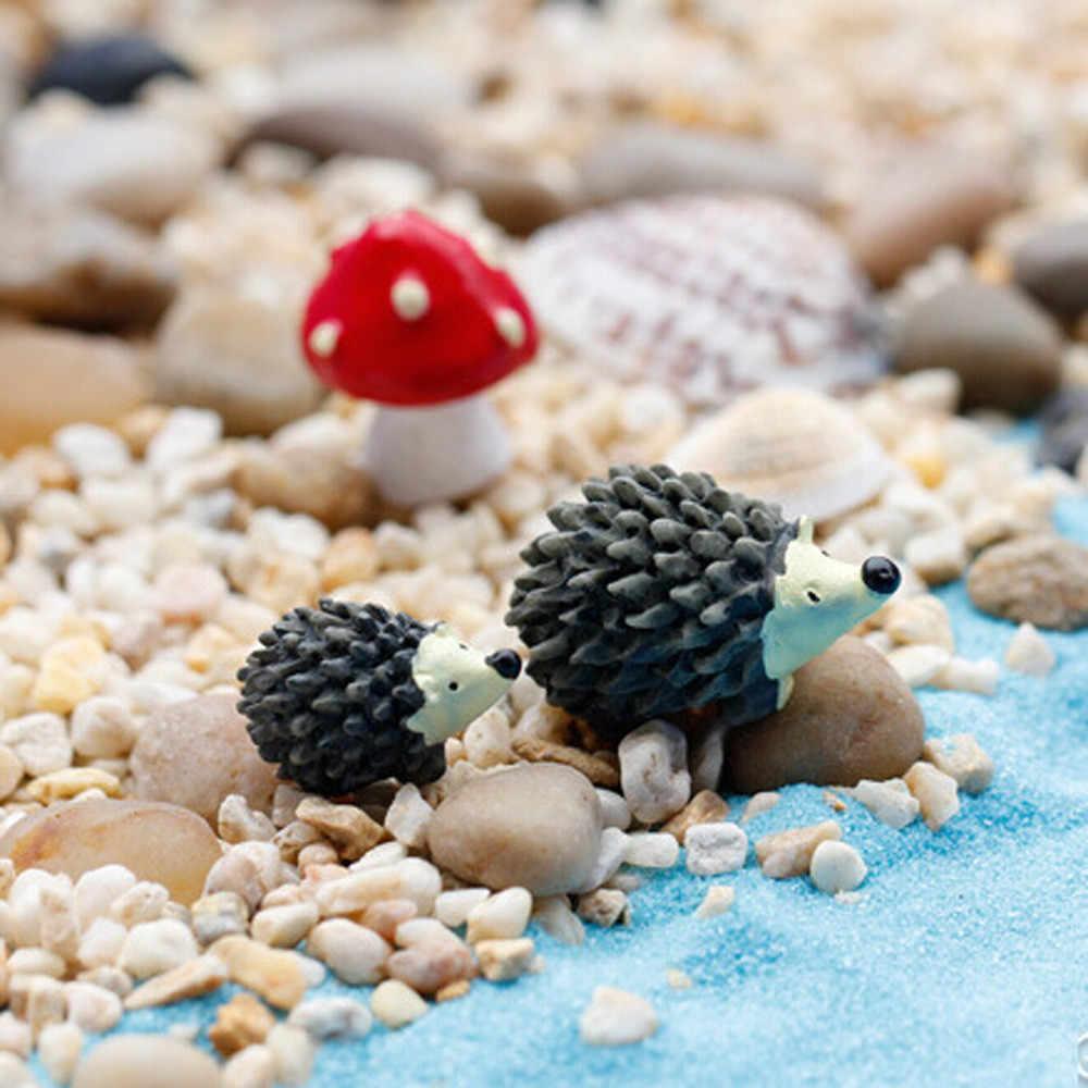 3 pièce/ensemble jardin mousse résine artisanat artificiel Mini hérisson point rouge champignon Miniature ornement hérisson décor fée jardin A30731