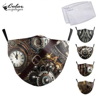 Color Cosplayer Steampunk Cosplay Face Mask Print Protective PM 2.5 Dust Washable Reusable Masks Fabric Vintage Mouth Cover