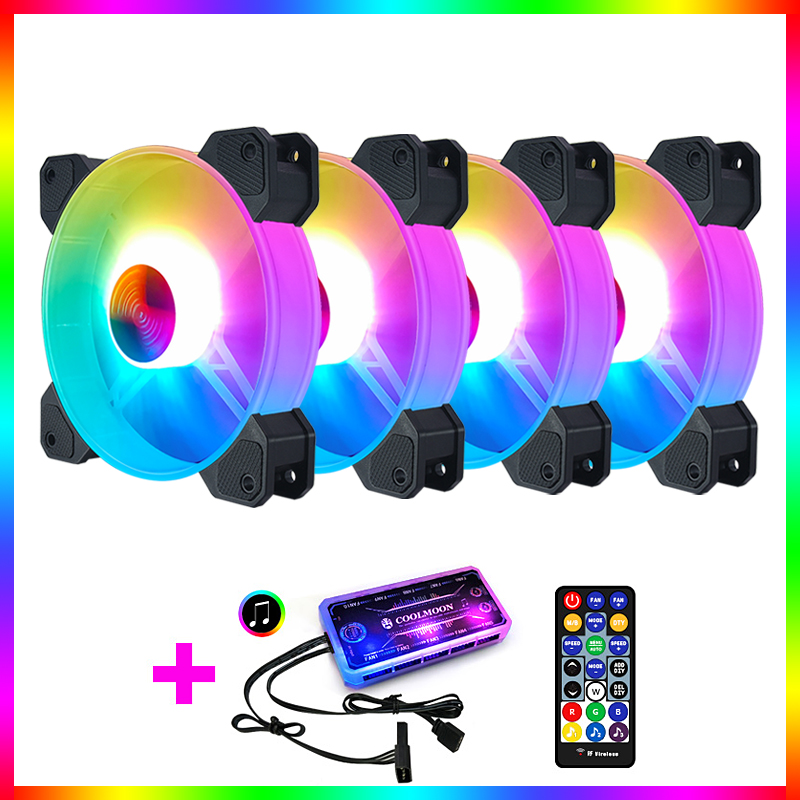 Coolmoon Computer Chassis PC Fan AURA SYNC Support Adjust RGB Cooling Fan 120mm Quiet Control Computer Cooling RGB Case Fans