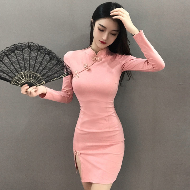2020 Chinese Dress Elegant Qipao Dress For Women Sexy Side Split Cheongsam Short Qipao Vestidos Oriental Evening Party Dress