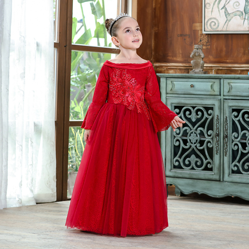 Off-the-Shoulder CHILDREN'S Dress Princess Dress Flower Boys/Flower Girls Lace Long Sleeve Puffy Dress Girls Small Host Costume