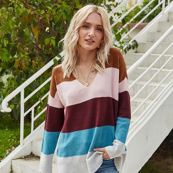 Sexy V Neck Striped contrast Knitted Sweater Loose Oversize Sweater Women Long Sleeve Sweaters Pullover Knitted Autumn Knitwear black v neck long sleeves loose plunge knitted sweaters