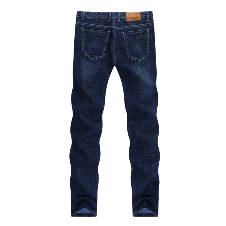 KSTUN Jeans Men Classic Straight Dark Blue Spring and Autumn Regular Fit Casual Pants Cotton Men's Clothing Trousers Male Jeans 12