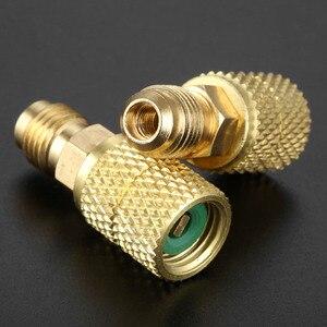 Image 5 - 2 pièces R410a laiton adaptateur Joints 1/4 mâle à 5/16 femelle SAE adaptateur pivotant pour R410A Mini système de cvc divisé