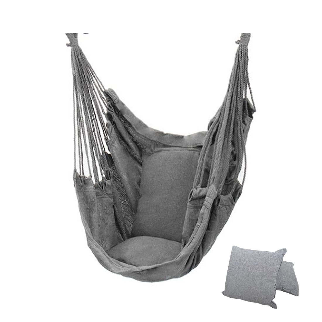 New Thicken Hammock Chair Hanging Swing Chair Outdoor Portable Relaxation Canvas Swing Travel Camping Lazy Chair wIth/no Pillow 1