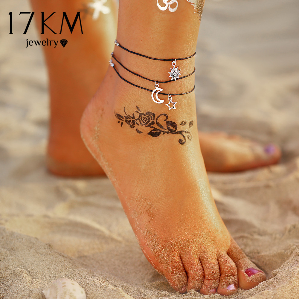 17KM 3Pcs/set Vintage Anklets Set Fashion Sun Moon Star Anklets For Women Girl Adjustable Anklet 2020 Foot Beach Jewelry Gift