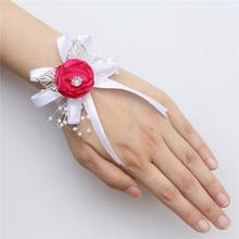 7piece/lot Silk Rose Artificial Flower Wrist Wedding Prom Bride Bridesmaid Corsage Bracelet With Gold Leaves SWSL-P