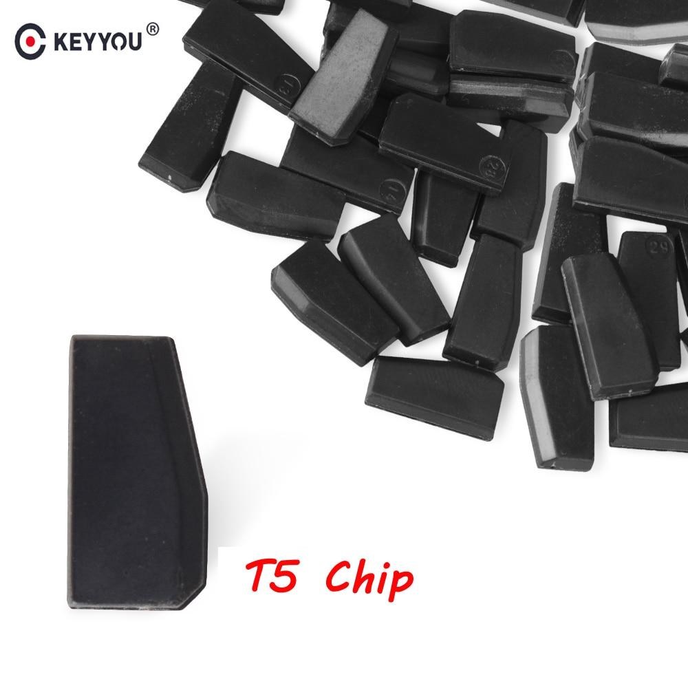 Чип-транспондер KEYYOU 5x 10x 20x 50x, бесцветный карбоновый чип T5 для автомобильного ключа, новый ключ-транспондер для автомобиля, чип T5