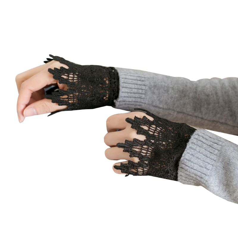 Decorated Cuff Women Sweater Ruffles Fake Sleeves Hollow Crochet Lace Arm Warmer A0NF