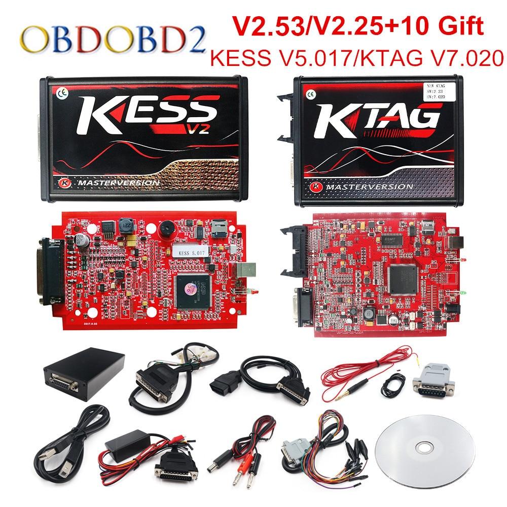 En línea V2.53 UE rojo KESS V5.017 OBD2 Gerente de KTAG V7.020 4 LED KESS V2 5.017 BDM marco K-TAG V2.25 Auto ECU programador