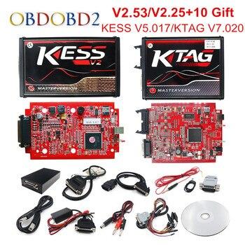 Online V2.53 EU Red KESS V5.017 OBD2 Manager Tuning KTAG V7.020 4 LED KESS V2 5.017 BDM Frame K-TAG V2.25 Auto ECU Programmer