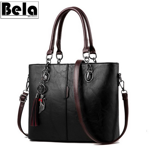 BelaBolso Vintage Tote çanta kadınlar için deri çanta büyük kapasiteli omuzdan askili çanta kadın üst kolu Crossbdoy çanta kadın HMB647